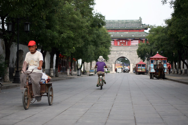 A cobblestone street in Qufu, China