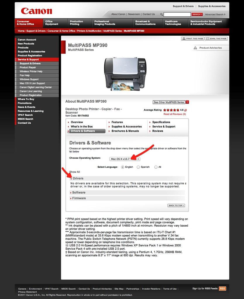 No drivers for Mac OS X :(  Canon MultiPASS MP390 | Canon U