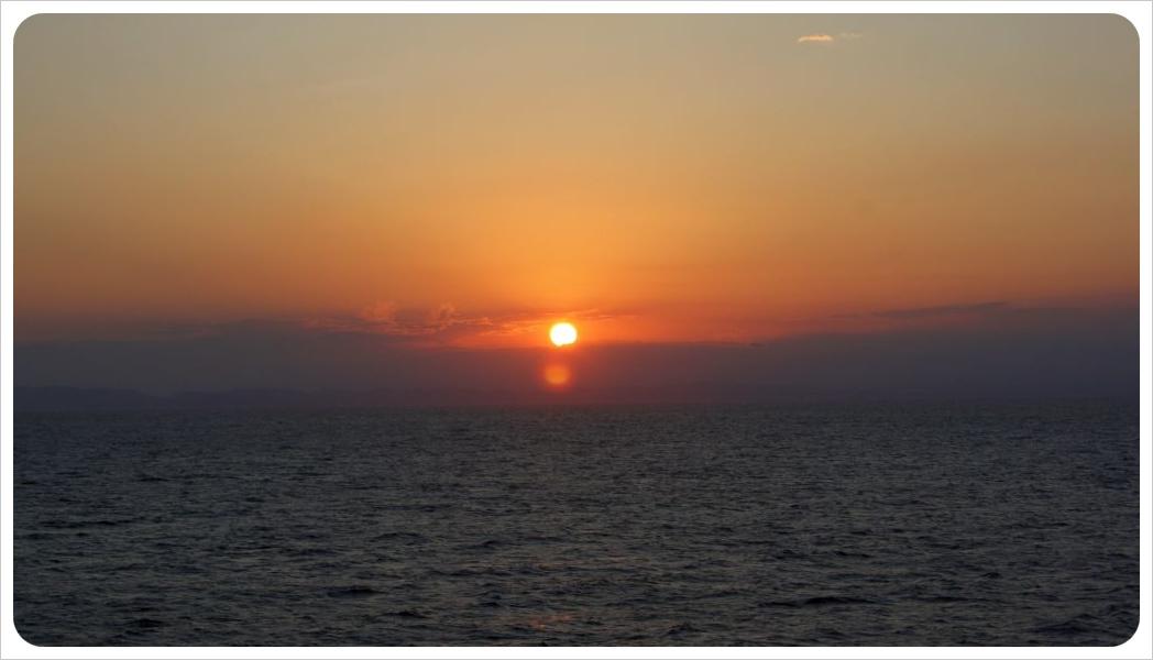 cruise ship sunset