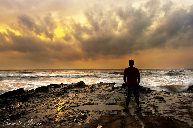 watching the sun go down - Ozran Beach - Goa