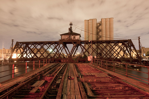Swing Bridge, Grain Elevator, River, Neon Light