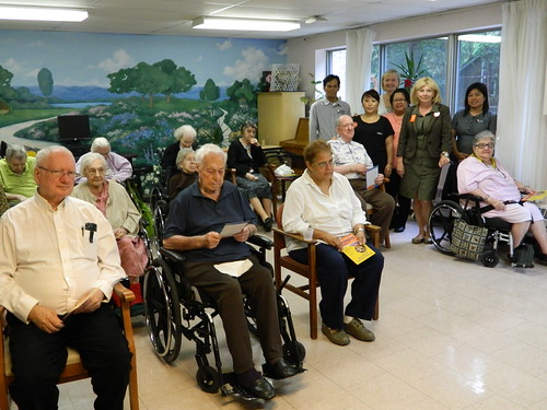 Cheri attends a meeting at White Eagle Seniors Residence.