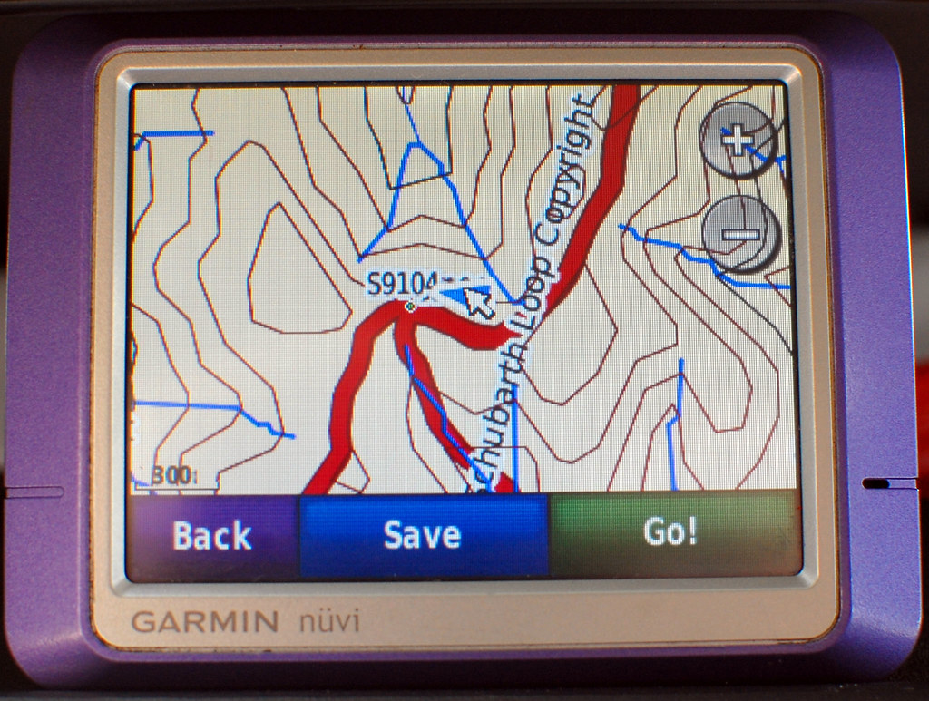 Trail on GPS with topo