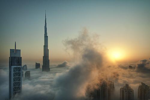 Foggy sunrise in Dubai #1 by Catalin Marin