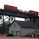 Work Train on Trestle - Lake Superior and Ishpeming Railroad at the Presque Isle Ore Dock, Marquette, MI