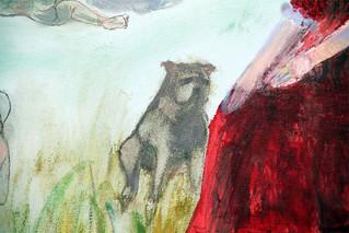 Verde prado de fresca sombra lleno, detail dog
