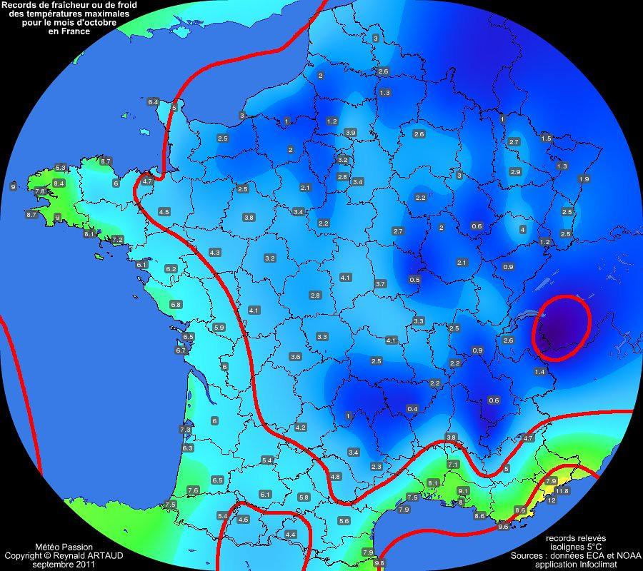 records de fraîcheur ou de froid des températures maximales pour le mois d'octobre en France Reynald ARTAUD météopassion