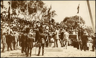 [Lord Denman, Governor-General of Australia, and members of the official party standing by the foundation stone, Naming of Canberra ceremony, 12 March 1913]