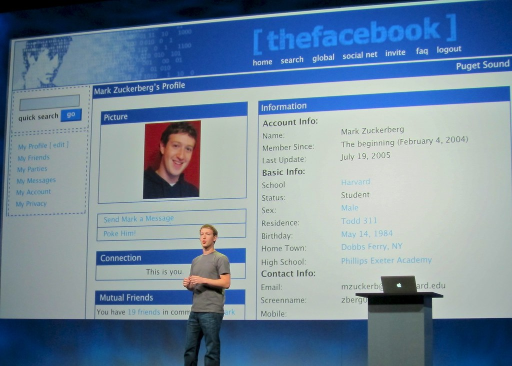 Mark Zuckerberg's original Facebook profile