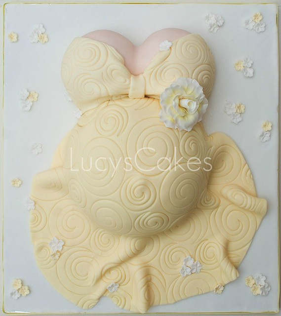 Yellow Pregnant Belly Baby Shower Cake