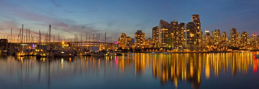 Beautiful Hour in Vancouver BC Panorama