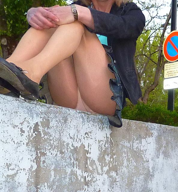 Park bench upskirt no panties similar