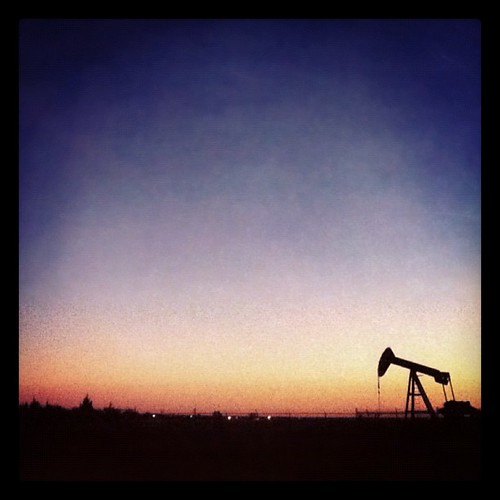sunset oklahoma silhouette square 4 well rig oil shawnee iphone iphoneography instagram