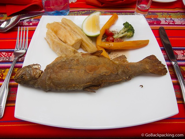 Fried Trucha with yuca and vegetables