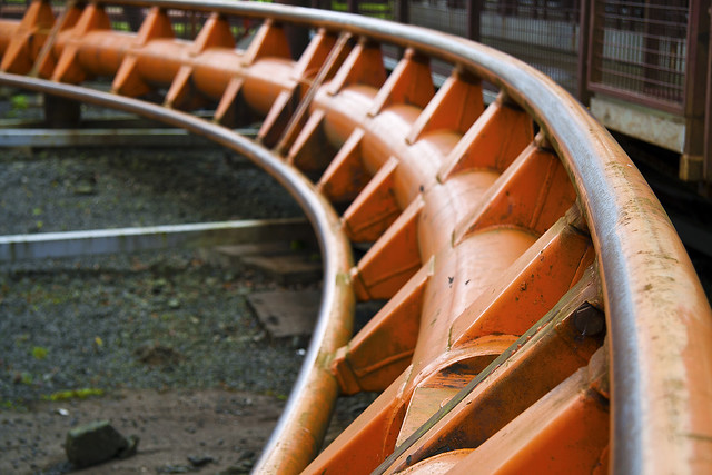 Part of the track of a Rollercoaster at Loudoun Castle Theme Park