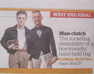 """man-clutch"" the rocketing desirability of a boy-friendly hand-held bag @ London Evening Standard, UK"
