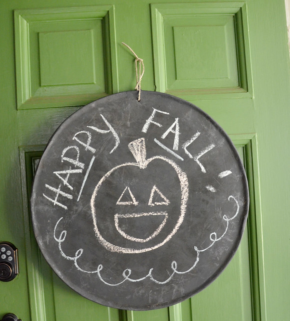 fall chalkboard on door
