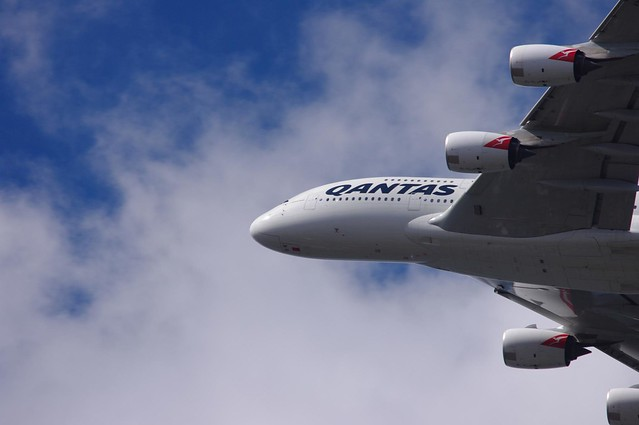 Qantas Airbus A380-842 VH-OQF flying over sydney