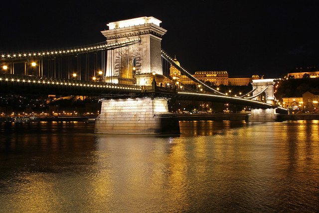 Chain bridge at night - with golden lights
