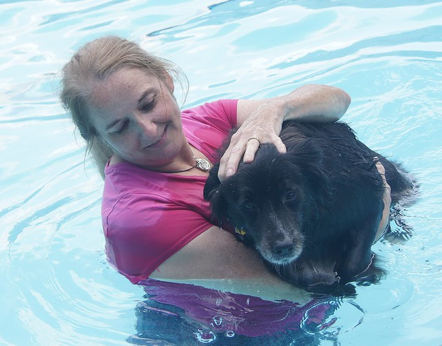 Patty swims with Pepper