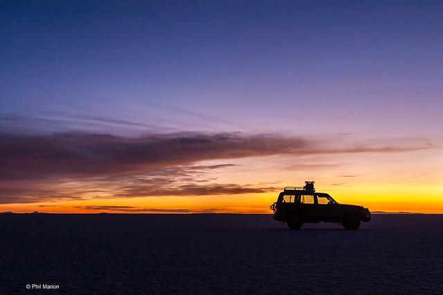 sunrise over Uyuni salt flats - Bolivia