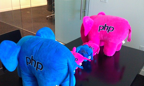 A picture of four PHP elephants