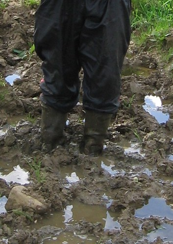 Aigle wellies in deep mud