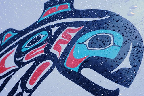 Rain on a painted salmon logo in Southeast coast Indian art style, or Northwest coast depends on West coast point of view, Seattle, Washington, USA by Wonderlane