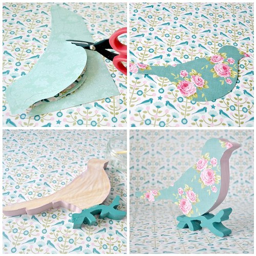Glittered floral print Christmas bird   - instructions 5-8