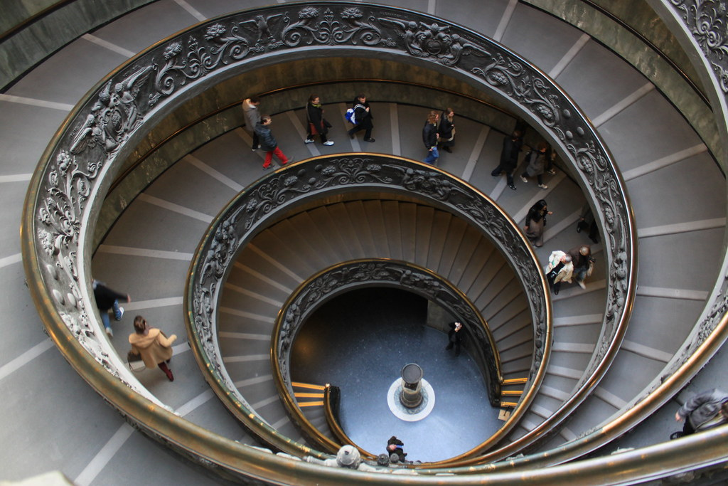 spiral staircase in the Vatican Museums