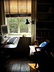 writer's nook - blue pillow by omoo