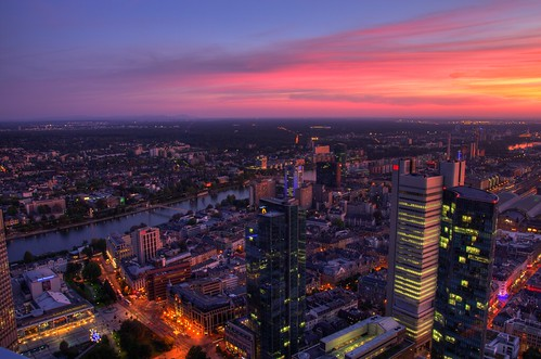 Sunset over the skyline in Frankfurt