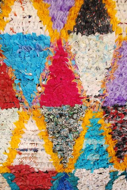 Moroccan Boucherouite Carpet No 646 detail