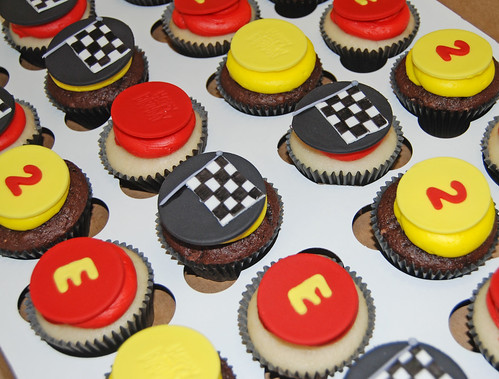 2nd birthday race car themed cupcake tower cupcakes