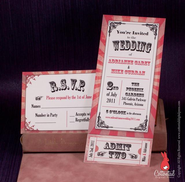 Circus Movie Ticket Wedding Invitation
