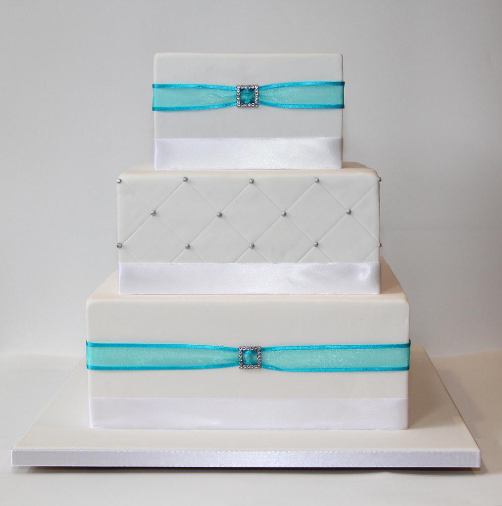 Square 3-tier Wedding Cake