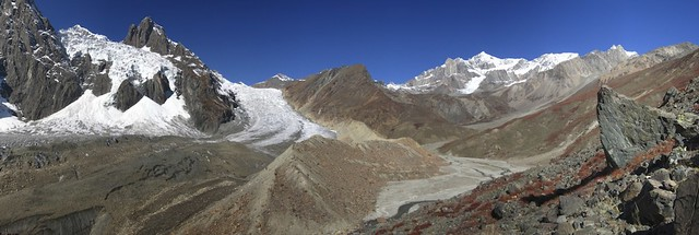 Shani high camp on the right of the moraine.