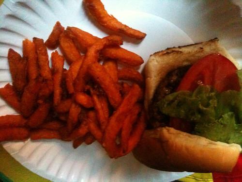 turkey burger with the sweet potato fries