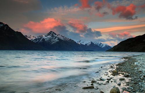 longexposure pink winter newzealand sky mountain lake snow beautiful clouds sunrise canon landscape scenic southisland queenstown lakewakatipu canon5dmkii