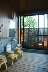 Showers in the communal bath of Ryokan Shigetsu