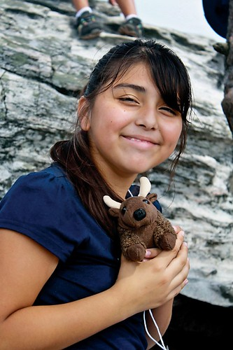 Student and Buddy Bison at Hanging Rock State Park, NC.