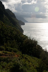 Beautiful trail to Hanakapi'ai Beach and looking down the Napali Coast