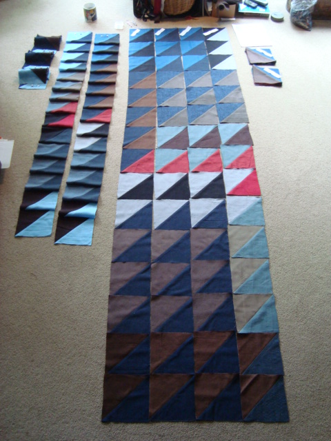 Stages of piecing