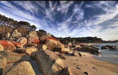 beach rocks australia tasmania hdr bayoffires photoartimages