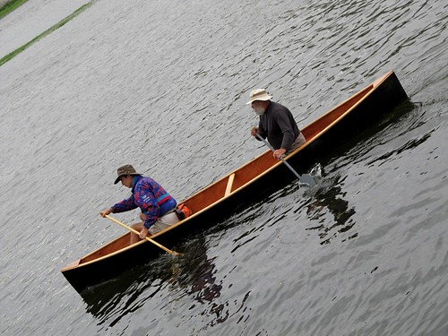 "Plywood and epoxy ""Quick Canoes"" put into the Loire river after a week of building."