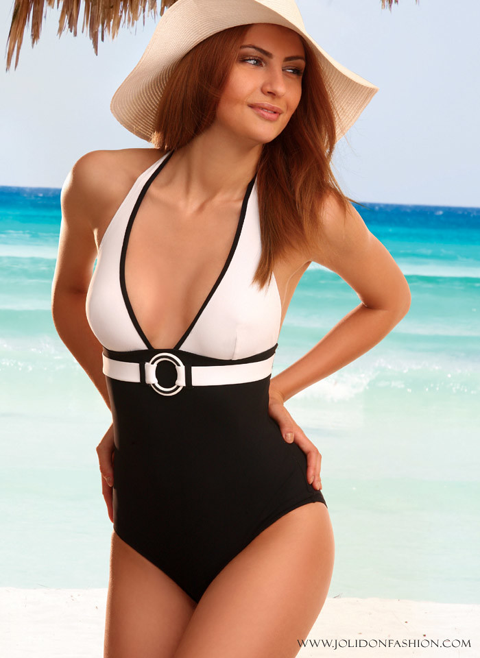 64f6a16052 ... Stylish Black and White Halter One Piece Swimsuit by Jolidon - 2012  Swimwear Collection