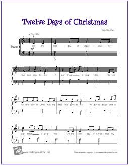 The Twelve Days of Christmas   Free Printable Christmas Music   My ...
