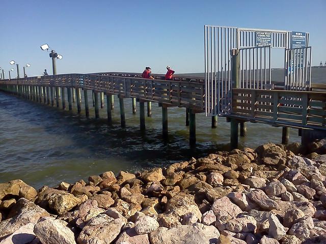 Fishing pier at sylvan beach park la porte usa on for Galveston fishing pier report