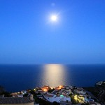 Moon over Mediterranean sea