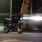 BMW R80 at night